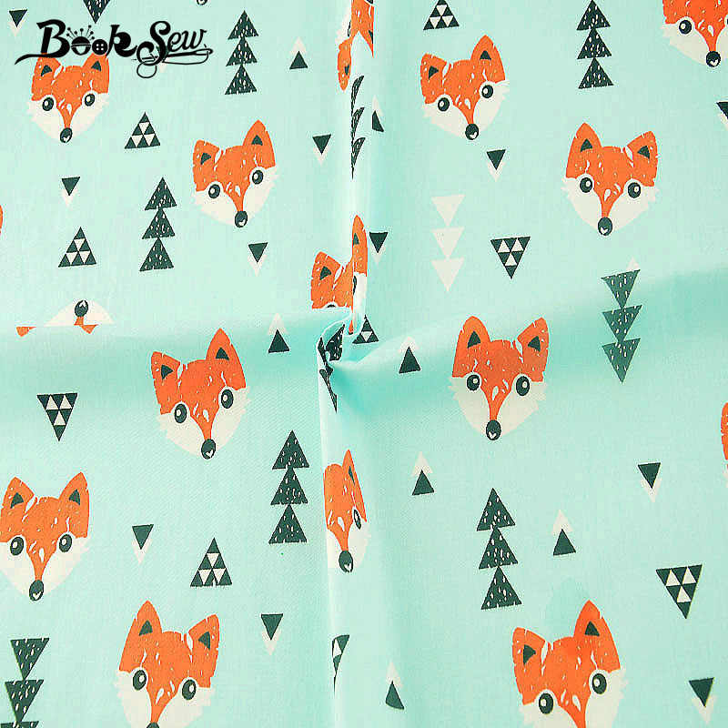 Booksew Cartoon Theme Material Patchwork Cotton Twill Fabric Textile DIY Telas  Animals Design Baby Dolls Sewing  Scrapbooking