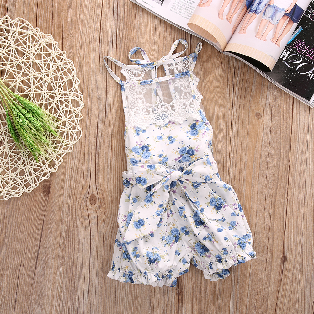 Newborn Baby Girls Clothing Summer sleeveles Rompers Floral Print Jumpsuit Infant Toddler Girl Romper clothes cotton baby rompers infant toddler jumpsuit lace collar short sleeve baby girl clothing newborn bebe overall clothes