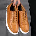 Hot selling new men's casual shoes high quality PU rubber sole lace up flat shoes men breathable shoes 3 colors Size 39-44