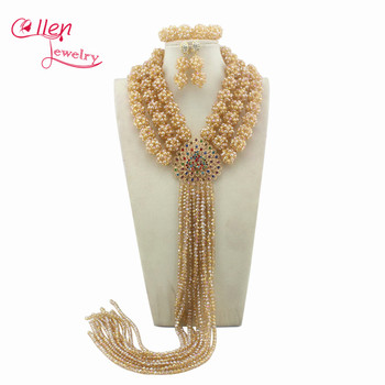 Attractive 2017 African Beads Jewelry Set Nigerian Party African Champagne Jewelry Sets Crystal Beads Jewelry Sets W10328