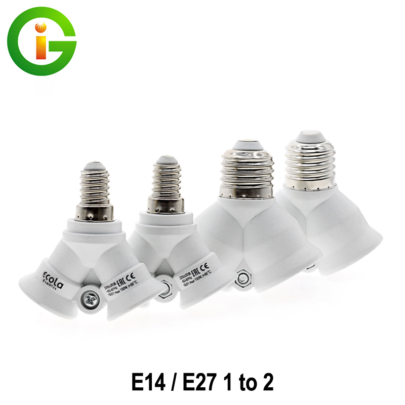 E27 / E14 Lamp Bases E27 To 2 E27 /E14 To 2 E14 Bulb Holder Adapter Converter For LED Light Bulb Lamp 1pcs