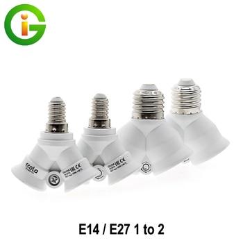 E27 / E14 Lamp Bases E27 to 2 E27 /E14 To 2 E14 Bulb Holder Adapter Converter For LED Light Bulb Lamp 1pcs e14 to e27 flexible extend extension adapter socket 18 28 38 48 58cm led light bulb lamp base holder converter