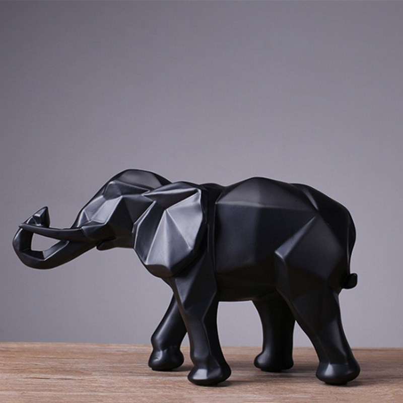 Simple Black Resin Elephant Statue Simple Geometric Origami Animal Sculpture Home Decoration Crafts Gifts