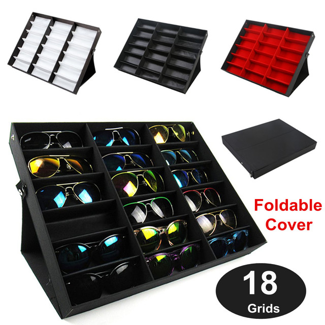 Foldable 18 Grids Eyeglass Storage Box Organizer 3 Colors Sunglasses Glasses  Storage Case Display Stand Holder