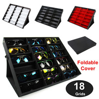 Foldable 18 Grids Eyeglass Storage Box Organizer 3 Colors Sunglasses Glasses Storage Case Display Stand Holder Case Tools