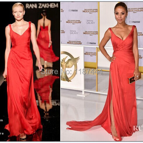 Meta Golding red sexy prom dress at The Hunger Games LA Premiere Evening  dresses Celebrity Gown 2014 d0f67b9de5c2