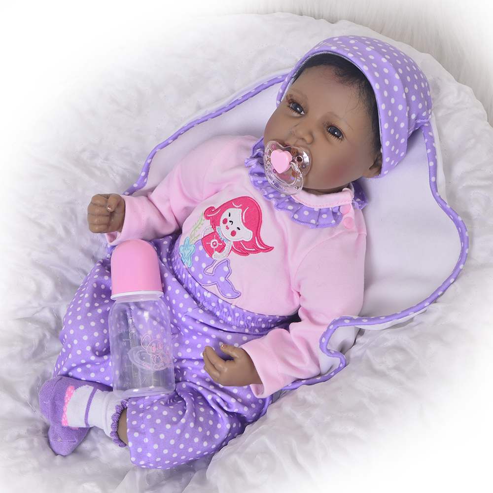 Collectible 22 Inch Ethnic Dolls Black Skin Reborn Baby Dolls Soft Silicone Babies Real Like Smiling Fashion Reborn Boneca 55 cm 22 silicone reborn dolls real reborn babies 100