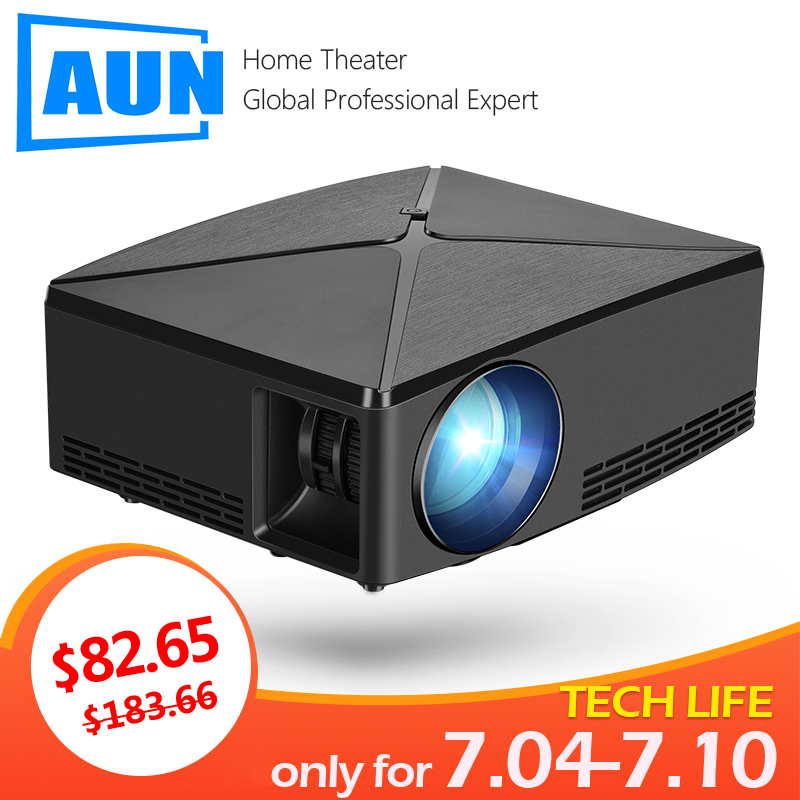 AUN MINI Projector C80 UP, 1280x720 Resolution, Android WIFI Proyector, LED Portable HD 3D Beamer for Home Cinema, Optional C80 Термос