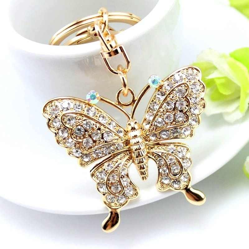 1 pcs High Quality Rhinestone Butterfly Jewelry Keychain Women Key Holder Chain Ring Car Bag Pendant