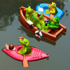 Creative Cute Floating Cartoon Tortoise Kayak Statue Outdoor Garden Pond Decorative Sculpture Garden Fish Tank Decor Ornament