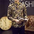 2017 Мужская Золотой Рубашки Сорочка Homme Марка Luxe Camisa Estampada Социальный Slim Fit Цветочные Рубашки Мужские Причудливые Узорчатые Рубашки 5XL