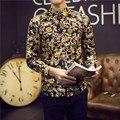 2017 Mens Camisas Chemise Homme Marque Luxe Ouro Camisa Estampada Sociais Slim Fit Camisas Florais Estampados Camisas 5XL Dos Homens Fantasia