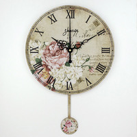 12 Inch Rustic Wall Clock With Mute Clock Movement Crafts Wedding Decoration Love Flower Paintings Wall