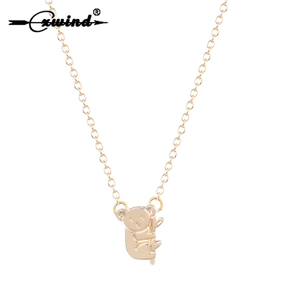 Cxwind New Fashion Animal Colar <font><b>Koala</b></font> Pendant Necklace For Women Cute Panda <font><b>Bear</b></font> Bamboo Necklaces Chain <font><b>Jewelry</b></font> Wholesale image