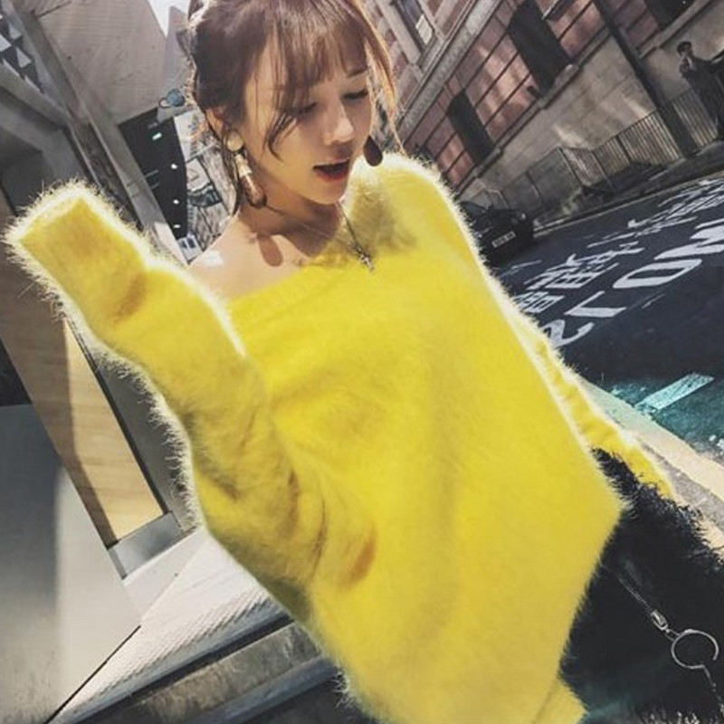 Knitted Jumpers Mohair Sweater Pullovers Long-Sleeve Wool Warm Autumn Winter Casual Women