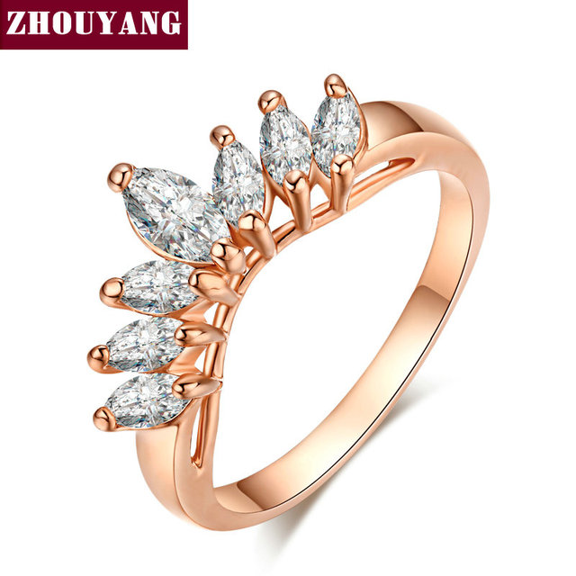 ZHOUYANG Top Quality Sharp Olives CZ Rose Gold Color Fashion Ring Austrian Cryst