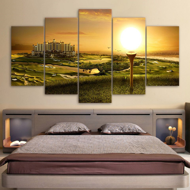 Decorative Pictures Canvas Painting Wall Art 5 Panel Golf Course Landscape  For Living Room Bedroom Prints