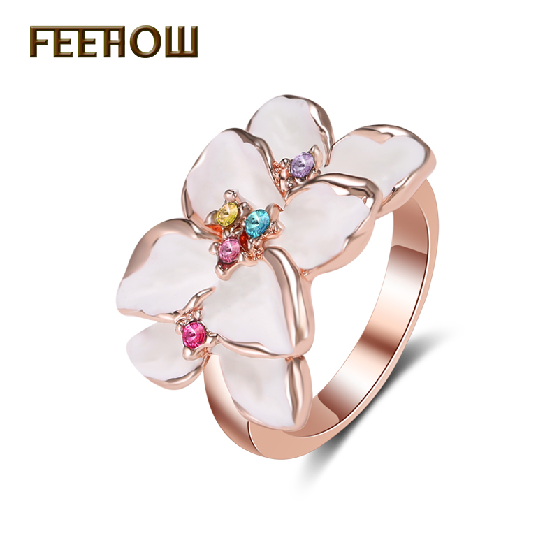 feerow fashion clear crystal crystal female rings rose