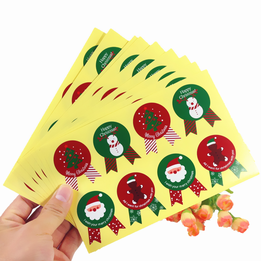 80PCS/Lot  Badge Design Happy Christmas Gift Packaging Sealing Sticker Label For Handmade Products