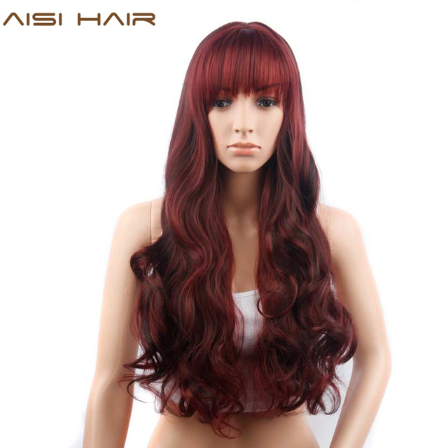 AISI HAIR Synthetic Dark Red Wig for Women 28 inches Long Curly Hair with  Neat Bangs 34d46c8a2043