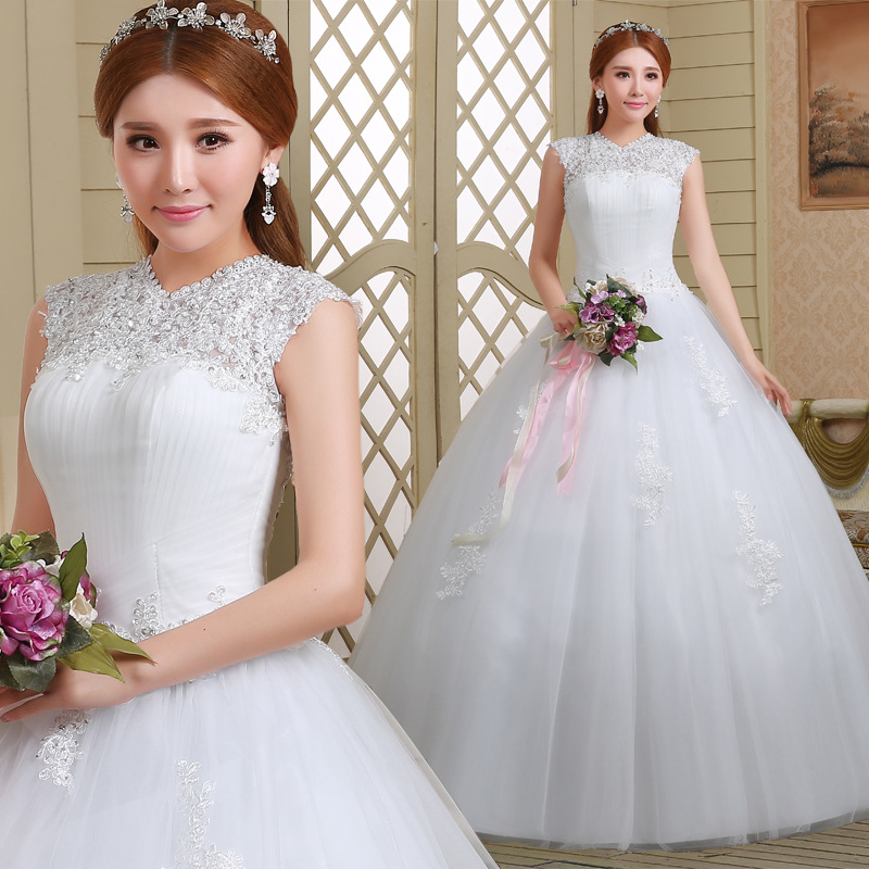 Adding Cap Sleeves Wedding Dress To: New Design Ball Gown High Neck Wedding Dress Cap Sleeve