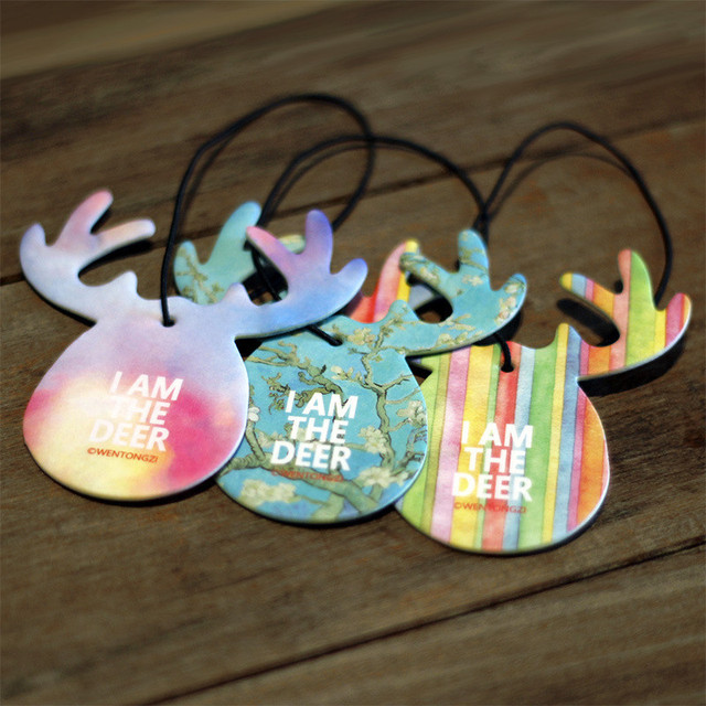 Cute Antlers Shape Car Perfume Papers Hanging Pendant Car Air Freshener Rear View Mirror Ornament Car Interior Auto Car Styling
