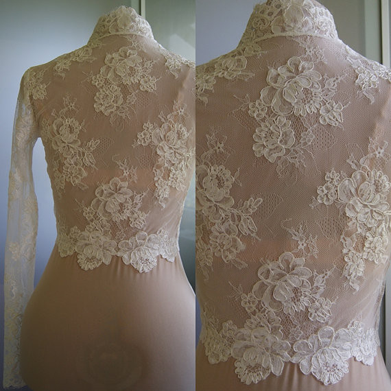 Sexy V Neck Wedding Bridal Jackets 2018 Lace Long Sleeve Bolero Wedding Wraps In Stock for Summer Spring Wedding Accessories