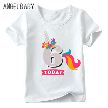 Girls Birthday Unicorn Number 1-9 Print T shirt Baby Summer White T-shirt,Kids Number 1-9 Birthday Present Cute Clothes,ooo2431