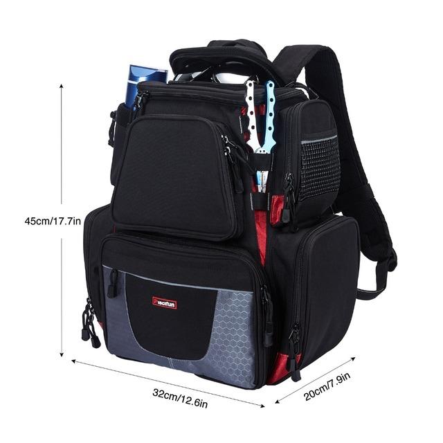 Piscifun Fishing Tackle Backpack Waterproof Tackle Bag Trays Storage Outdoor Fishing Bag Protective Rain Cover(no tackle boxes)