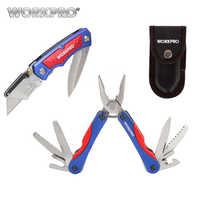 Couteau utilitaire WORKPRO couteau double lame 15 en 1 multi-pinces 2PC ensemble d'outils de Camping en plein air