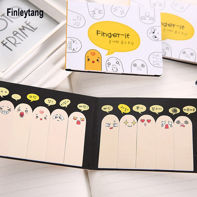 Kawaii Memo Pad Post it School Office Supplies Cute Funny Emoji Fingers Shape Sticky Notes Bookmarks Planner Stickers Stationery