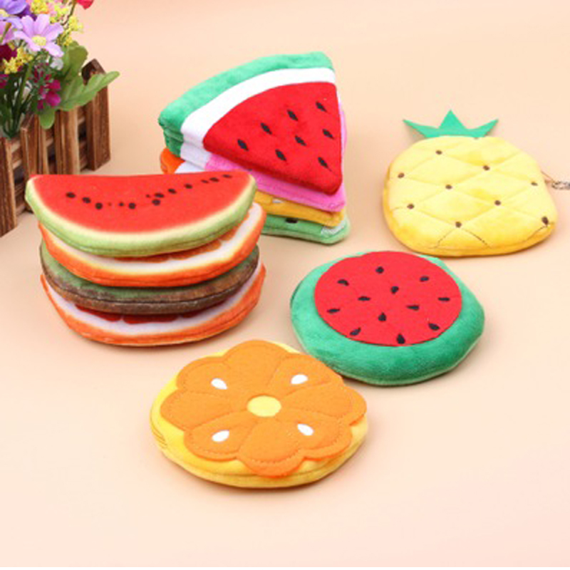 1pcs Baby Colorful Kawaii DIY Plush Cotton Toys Summer Fruits Toys Plush Toy Pocket  Purse  , Keychain Plush Toy Gift For Kids
