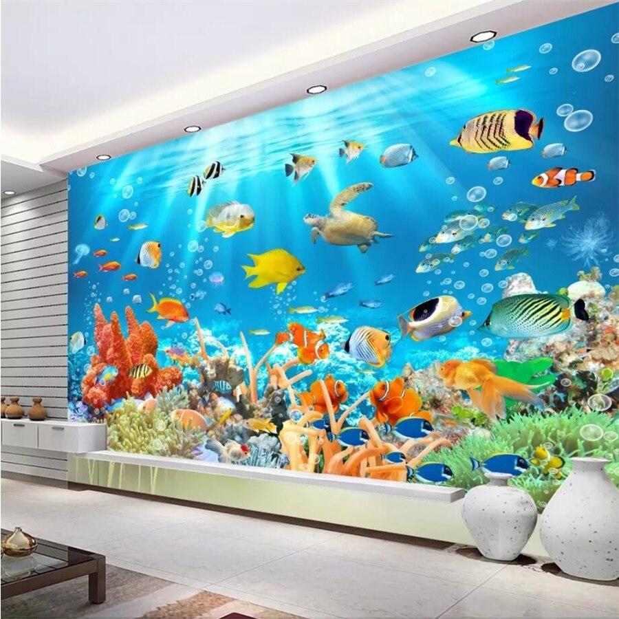 US $8 85 OFF Beibehang Wallpaper Kustom 3D Dunia Bawah Laut Latar Belakang Lukisan Dinding Ruang Tamu Kamar Tidur Dinding Kertas Dekorasi Rumah 3D