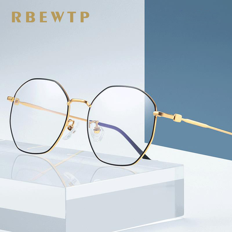 Constructive Rbewtp Rose Gold Polygon Frame Anti Blue Light Blocking Glasses Led Computer Reading Glasses Radiation-resistant Gaming Eyewear Soft And Antislippery Apparel Accessories
