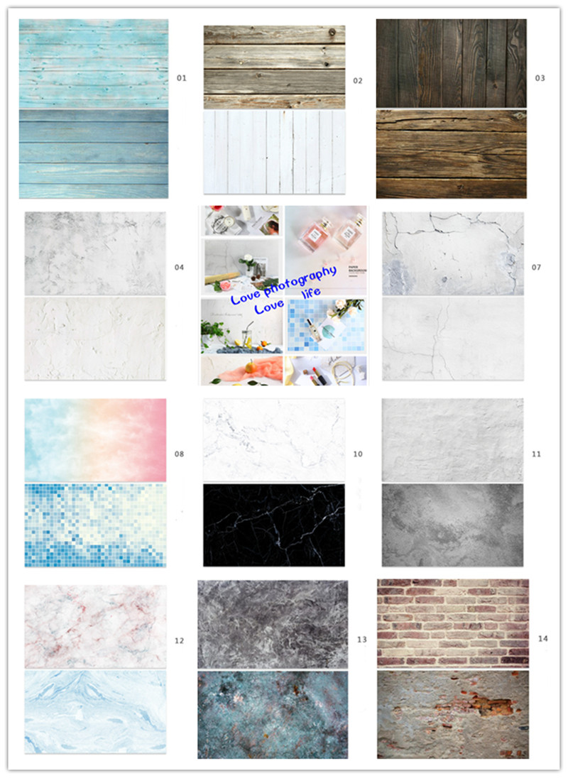 Photo Studio Double-sided Wood Grain Background Paper Marble Texture Crack Paper Shooting Props 57*87CM For Food Cosmetics