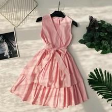 Women Summer V-Neck Empire Sleeveless Dresses Fashion Vest Sashes Sundress