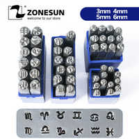 ZONESUN Zodiac Sign 12PCS Jewelry Metal Stamps Symbols Leather Punch Die Stamping Tools Steel Metal Tool For Bracelet Necklace