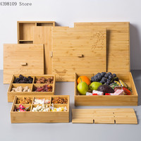 Bamboo wood tray food fruit storage tray wooden compartment with lid household dried fruit tray creative snack candy box storage