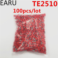 100PCS E Tube TE2510 Type Double Pipe Insulated Twin Cord Cold-press Terminal Block Connector Needle End Multicolor 2X2.5 mm2