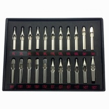 22PCS Stainless Steel Tattoo Nozzle Tips Set Round Diamond Magnum DT RT FT Tattoo Tips Mixed For Tattoo Supply