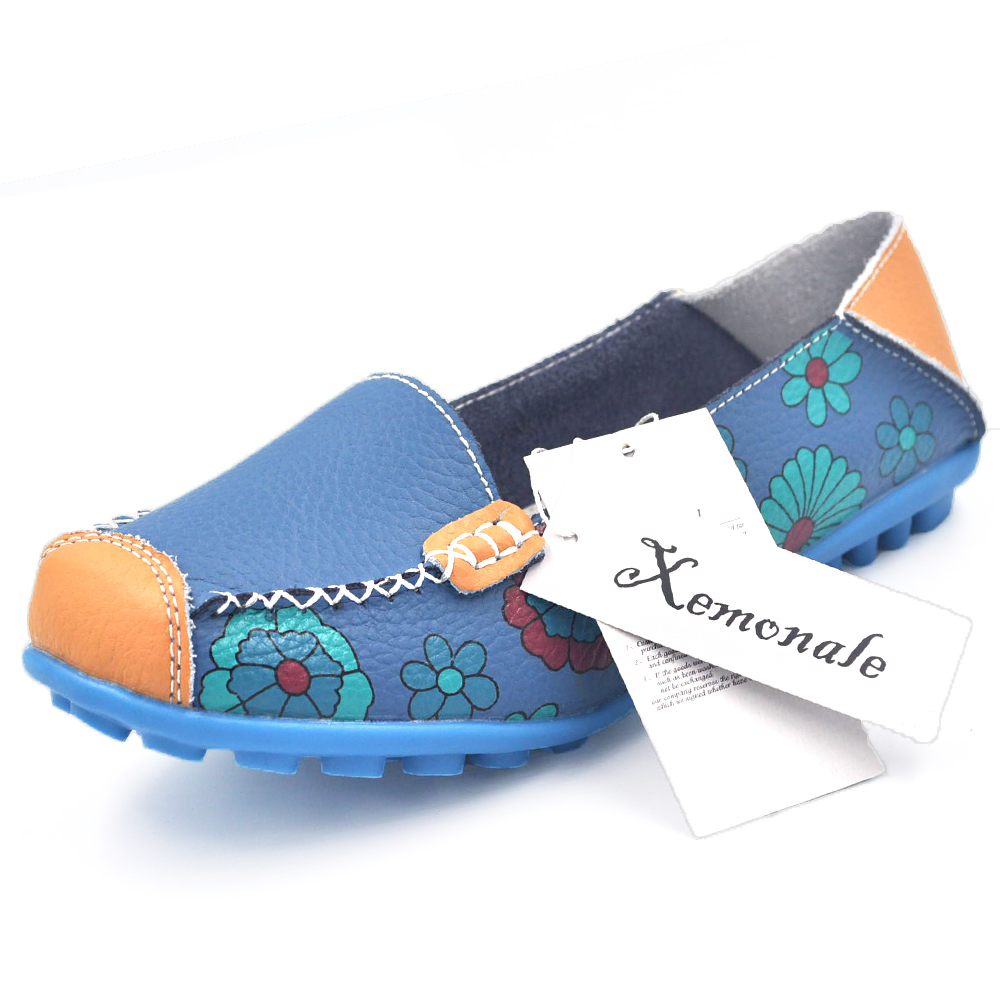 Xemonale Womens Casual Shose 2017 New Fashion Flower Print Genuine Leather Shoes Non-slip Flats Mom Shoes