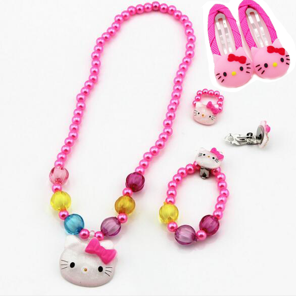1set Baby Girls Imitation Pearls Hello Kitty Cat Pendant Necklace Bracelet Ring Card issue Set Children Kids Jewelry sets