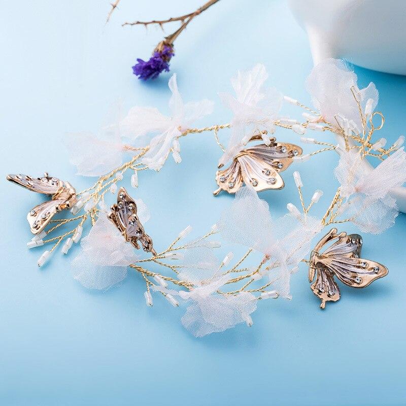 2017 New Bride Headdress Butterfly Temperament Hairbands Flowers Zinc Alloy Wreath Handmade Party Wedding Women Charm Jewelry