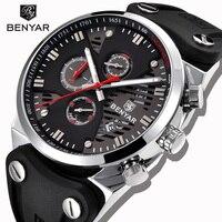 BENYAR Men's Casual Business Watch Men's Sports Watch Silicone Strap Chronograph Unique Three-Pin Design Waterproof Men's Watch