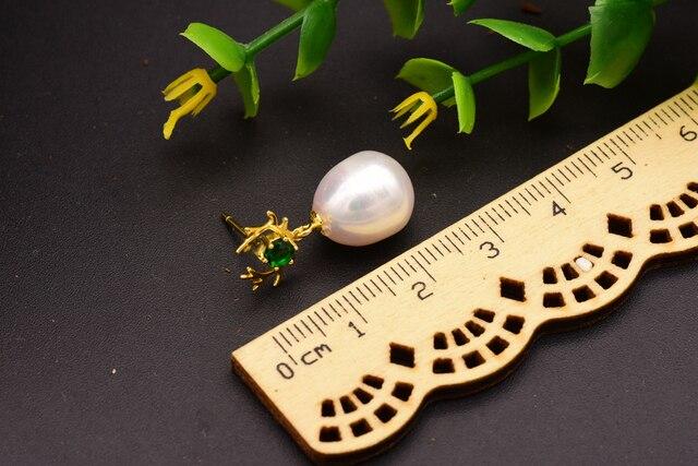 Женские серьги подвески из серебра 925 пробы с натуральным жемчугом