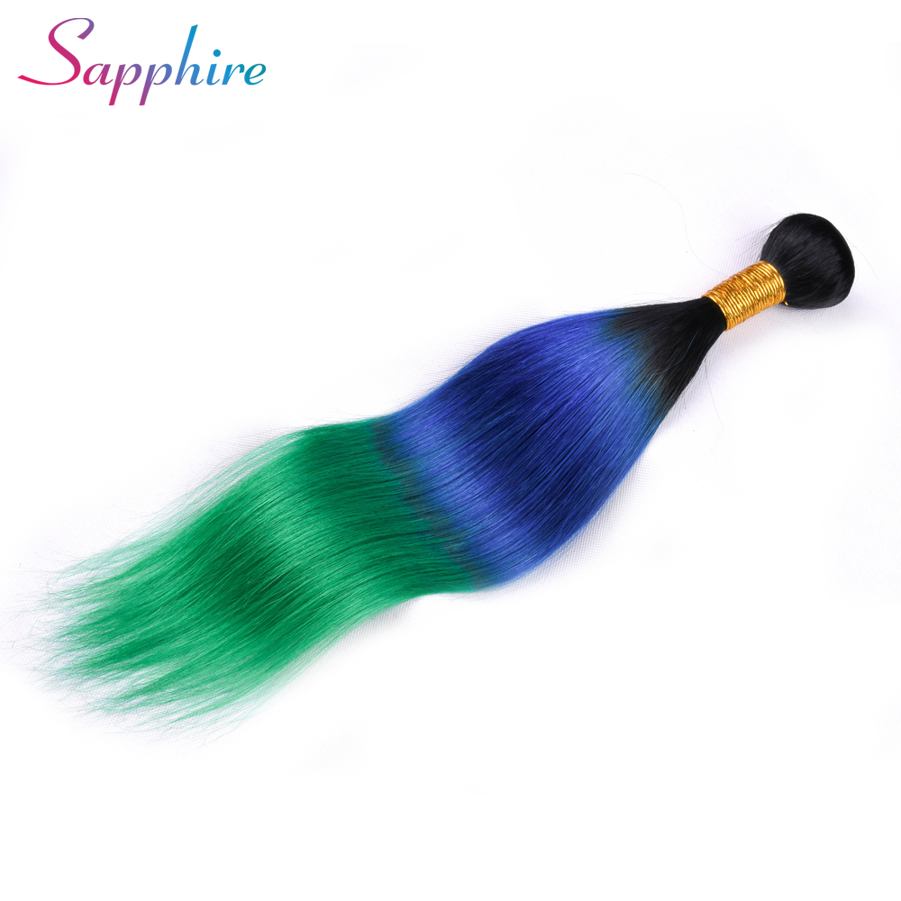 Sapphire Peruvian Straight Remy Hair 100% Human Hair Weave Bundles Ombre Color TB/Blue/Green 1 Bundle Free Shipping Remy Hair