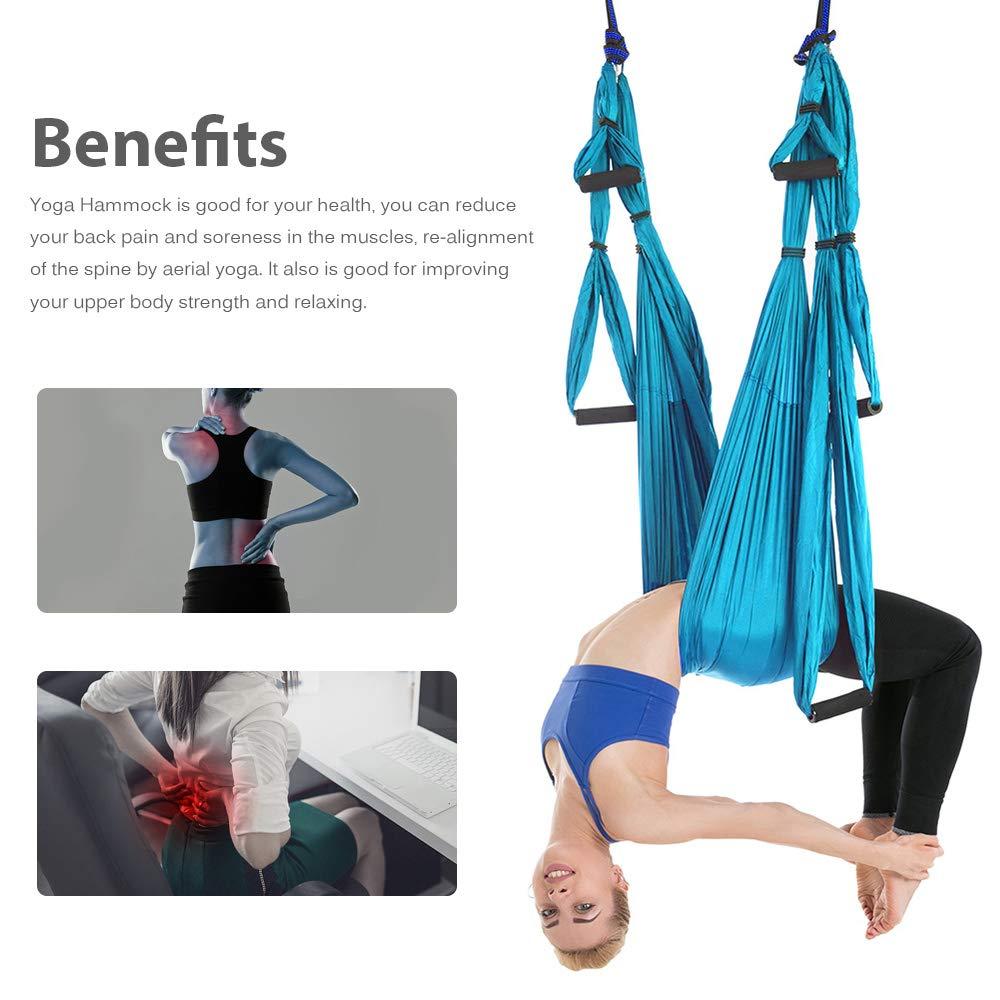 Ensemble de hamac de Yoga aérien Anti-gravité complet ceinture de Yoga multifonction outil d'inversion de Yoga volant pour le corps de Pilates façonnant 15 couleurs - 5