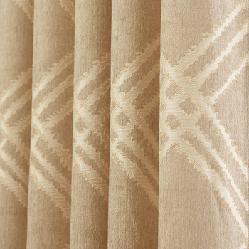Custom curtains Europe curtain Chenille Jacquard thick coffee geometry bedroom shade livingroom blackout curtain tulle yarn M606