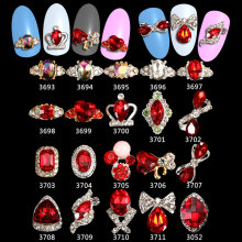 Nail Art Crystal Rhinestone Decoration Nails Charms Symphony Red Style Gemstone Jewelry ***3693-3711