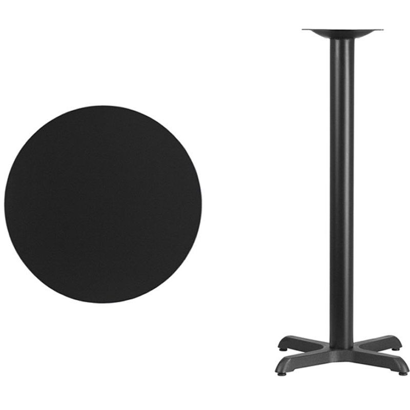 Flash Furniture 24'' Round Black Laminate Table Top with 22'' x 22'' Bar Height Table Base [863-XU-RD-24-BLKTB-T2222B-GG] virginia cavaliers l211 42 tall logo pub table by holland bar stool company with black wrinkle base and 28 table top diameter